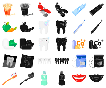 Dental care cartoon,black icons in set collection for design. Care of teeth vector symbol stock web illustration.