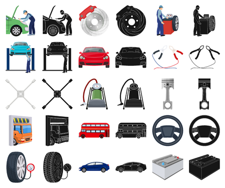 Car, lift, pump and other equipment cartoon,black icons in set collection for design. Car maintenance station vector symbol stock illustration web.