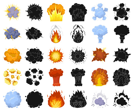Different explosions cartoon,black icons in set collection for design.Flash and flame vector symbol stock web illustration. Иллюстрация
