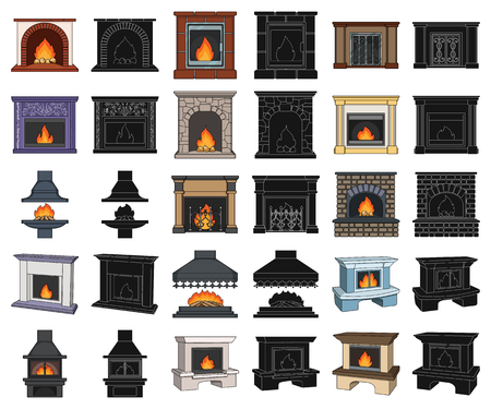 Different kinds of fireplaces cartoon,black icons in set collection for design.Fireplaces construction vector symbol stock web illustration.