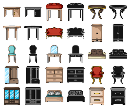 Furniture and interior cartoon,black icons in set collection for design.Home furniture vector symbol stock web illustration.