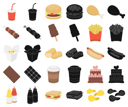 Fast food cartoon,black icons in set collection for design.Food from semi-finished products vector symbol stock web illustration.