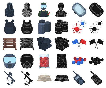 Paintball, team game cartoon,black icons in set collection for design. Equipment and outfit vector symbol stock  illustration. Vettoriali