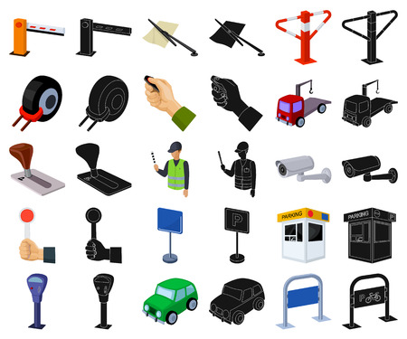 Parking for cars cartoon,black icons in set collection for design. Equipment and service vector symbol stock illustration.