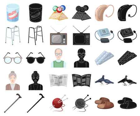 Human old age cartoon,black icons in set collection for design. Pensioner, period of life vector symbol stock  illustration.