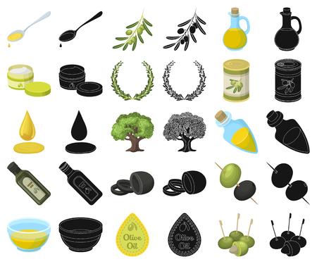 Olive, food cartoon,black icons in set collection for design. Olive oil, seasoning vector symbol stock illustration. Vecteurs