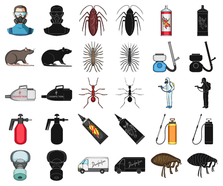 Pest, poison, personnel and equipment cartoon,black icons in set collection for design. Pest control service vector symbol stock illustration.