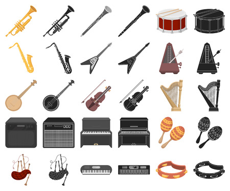 Musical instrument cartoon,black icons in set collection for design. String and Wind instrument vector symbol stock  illustration.