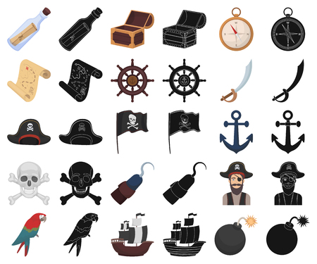 Pirate, sea robber cartoon,black icons in set collection for design. Treasures, attributes vector symbol stock  illustration.