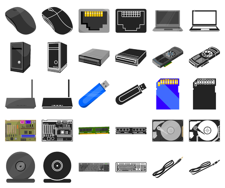 Personal computer cartoon,black icons in set collection for design. Equipment and accessories vector symbol stock  illustration.