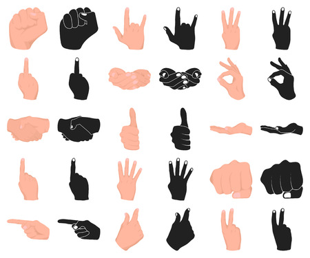 Hand gesture cartoon,black icons in set collection for design. Palm and finger vector symbol stock  illustration.