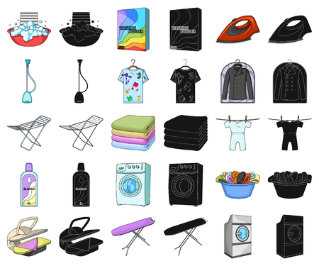 Dry cleaning equipment cartoon,black icons in set collection for design. Washing and ironing clothes vector symbol stock illustration.