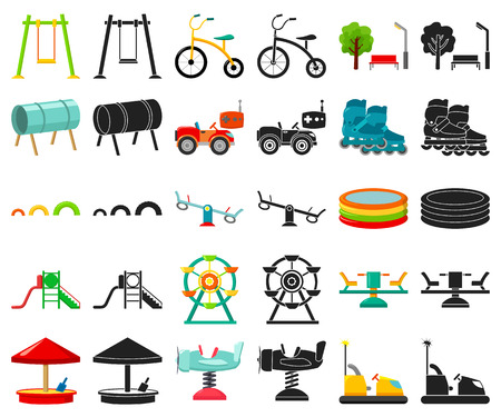 Playground, entertainment cartoon,black icons in set collection for design. Attraction and equipment vector symbol stock  illustration.
