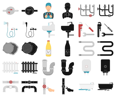 Plumbing, fitting cartoon,black icons in set collection for design. Equipment and tools vector symbol stock  illustration. Illustration