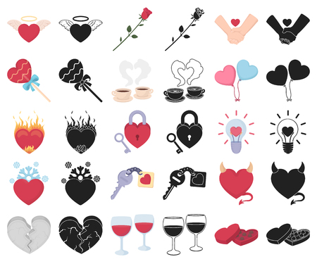 Romantic relationship cartoon,black icons in set collection for design. Love and friendship vector symbol stock  illustration.