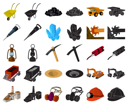 Mining industry cartoon,black icons in set collection for design. Equipment and tools vector symbol stock  illustration. Ilustrace