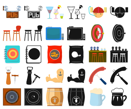 Pub, interior and equipment cartoon,black icons in set collection for design. Alcohol and food vector symbol stock  illustration.