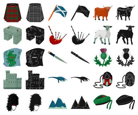 Country Scotland cartoon,black icons in set collection for design. Sightseeing, culture and tradition vector symbol stock  illustration.