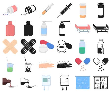 Medicine and treatment cartoon,black icons in set collection for design. Medicine and equipment vector symbol stock illustration. Vektorgrafik