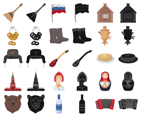 Country Russia, travel cartoon,black icons in set collection for design. Attractions and features vector symbol stock  illustration. Çizim
