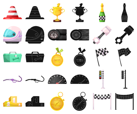 Vector design of car and rally icon. Collection of car and race stock vector illustration. Stock Illustratie