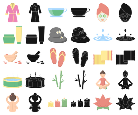 Spa salon and equipment cartoon,black icons in set collection for design. Relaxation and rest vector symbol stock  illustration.