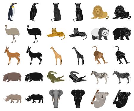 Different animals cartoon,black icons in set collection for design. Bird, predator and herbivore vector symbol stock  illustration.