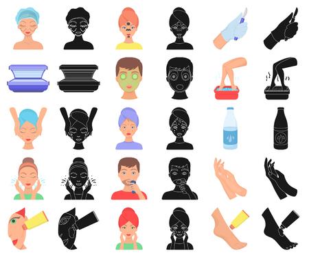 Icone dei cartoni animati di cura della pelle in insieme di set per il disegno. Illustrazione delle azione di simbolo di vettore del viso e del corpo.