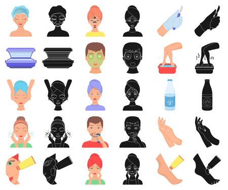 Skin care cartoon,black icons in set collection for design. Face and body vector symbol stock  illustration. Illustration