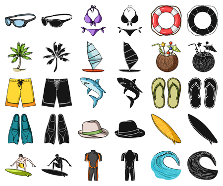 Surfing and extreme cartoon,black icons in set collection for design. Surfer and accessories vector symbol stock web illustration.