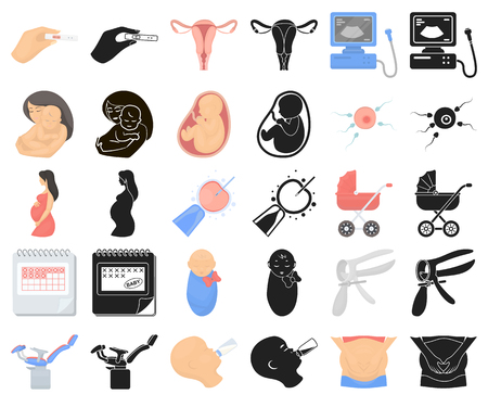Woman and pregnancy cartoon,black icons in set collection for design. Gynecology and equipment vector symbol stock web illustration.