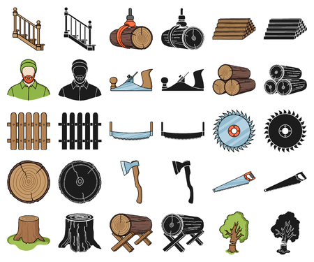 Sawmill and Timber cartoon,black icons in set collection for design. Hardware and Tools vector symbol stock web illustration.