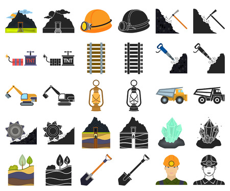 Mining industry cartoon,black icons in set collection for design. Equipment and tools vector symbol stock web illustration.