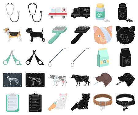 Veterinary clinic cartoon,black icons in set collection for design. Treatment of a pet vector symbol stock web illustration.