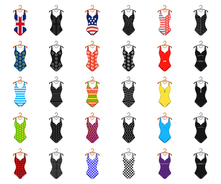 Different types of swimsuits cartoon,black icons in set collection for design. Swimming accessories vector symbol stock web illustration.