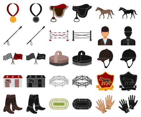 Hippodrome and horse cartoon,black icons in set collection for design. Horse Racing and Equipment vector symbol stock web illustration. Illustration