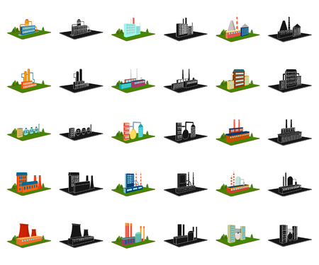 Factory and plant cartoon,black icons in set collection for design. Production and enterprise vector isometric symbol stock web illustration.