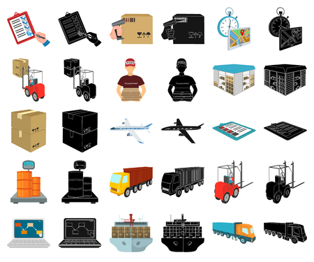 Logistics and delivery cartoon,black icons in set collection for design. Transport and equipment isometric vector symbol stock  illustration. Illustration