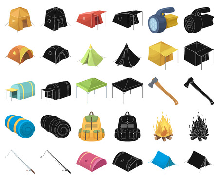 Different kinds of tents cartoon,black icons in set collection for design. Temporary shelter and housing vector symbol stock web illustration. Vectores
