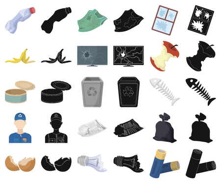 Garbage and waste cartoon,black icons in set collection for design. Cleaning garbage vector symbol stock web illustration.