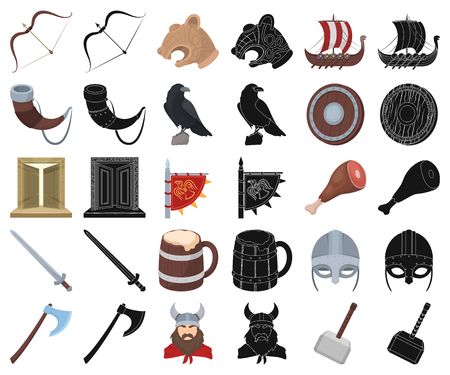 Vikings and attributes cartoon,black icons in set collection for design.Old Norse Warrior vector symbol stock web illustration.
