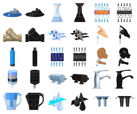 Water filtration system cartoon,black icons in set collection for design. Cleaning equipment vector symbol stock web illustration. Illustration