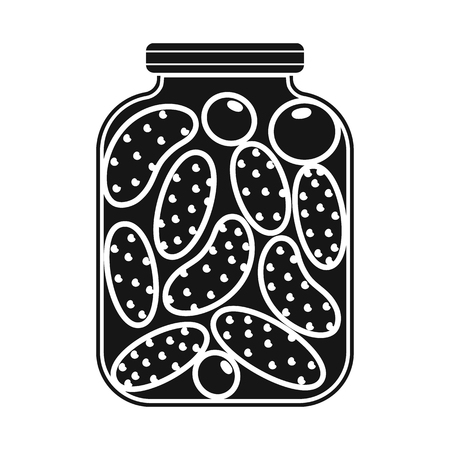 Vector illustration of bank and cucumbers icon. Collection of bank and salty   stock vector illustration.
