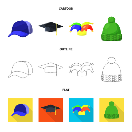 Vector illustration of clothing and cap logo. Set of clothing and beret stock symbol for web.