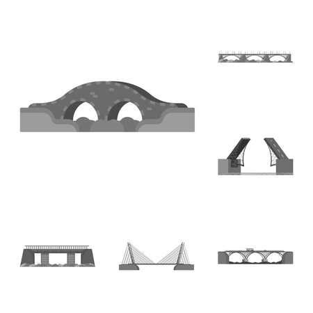 Vector design of design and construct sign. Collection of design and bridge stock vector illustration.