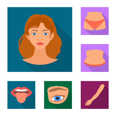 Vector design of body and part icon. Set of body and anatomy stock symbol for web.
