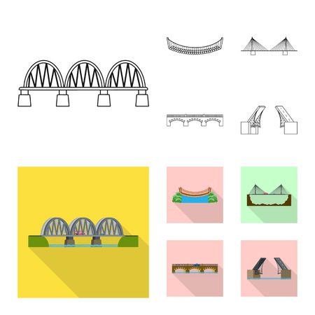 Isolated object of connection and design icon. Collection of connection and side stock vector illustration.