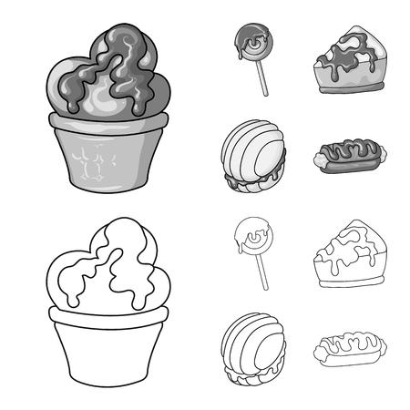 Vector illustration of confectionery and culinary icon. Collection of confectionery and product stock symbol for web. Векторная Иллюстрация