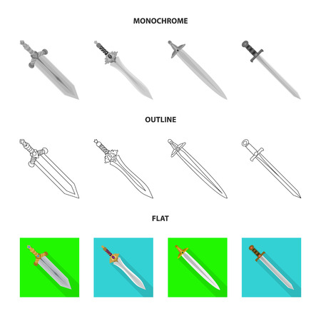 Vector illustration of game  and armor  sign. Collection of game  and blade  stock symbol for web.
