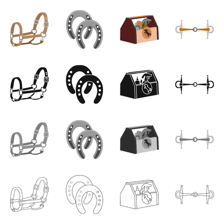 Vector illustration of equipment and riding symbol. Set of equipment and competition stock symbol for web. 免版税图像 - 125056872